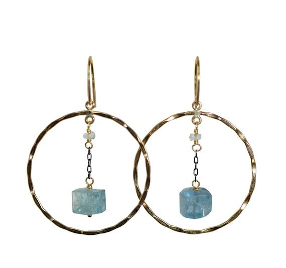 Aquamarine Hoop Earrings* Mixed Metal Blue Gemstone Hoop Earrings* March Birthstone Gift Idea for Her* Women's Jewelry