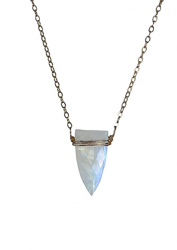 Rainbow Moonstone Triangle Pendant Necklace