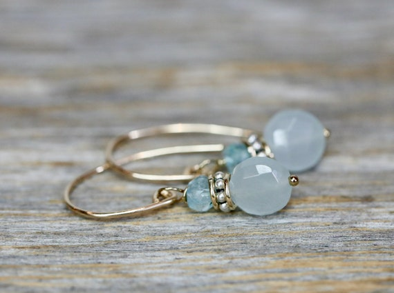 Aquamarine Earrings-14k gold Filled Mixed Metal Sterling Silver 925-Genuine Aquamarine Gemstones- March Birthstone Birthday Gift for Her