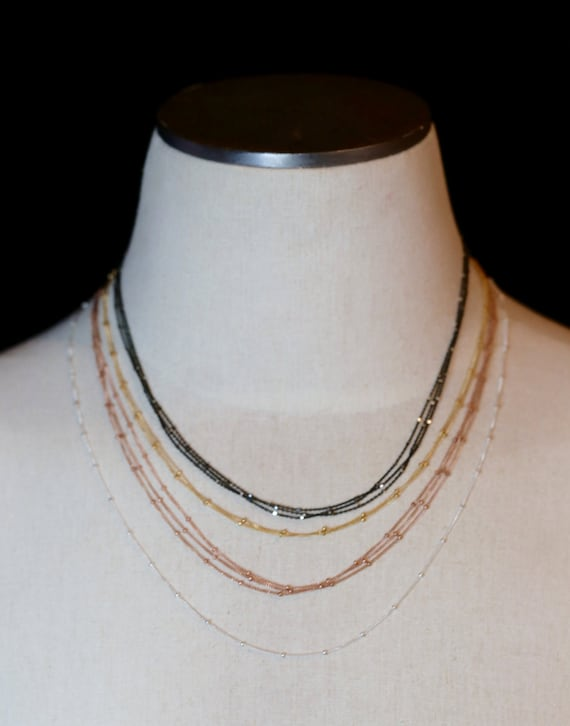 SATELLITE Chain Necklace- Sterling Silver- 14k gold Filled- Layering precious metal necklaces