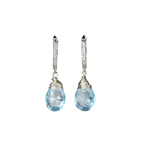 Blue Topaz and Diamond Sterling Silver Statement Earring