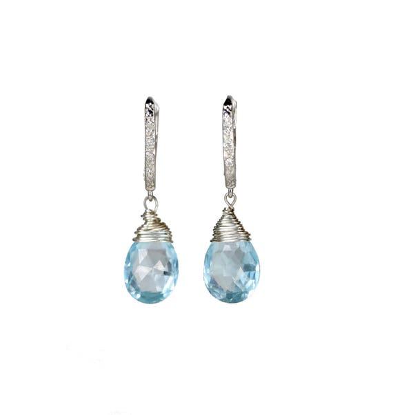 Swiss Blue Topaz and Pave Diamond Earrings