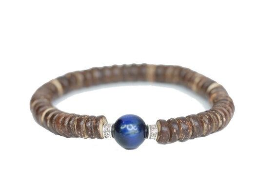 Coconut Wood Bracelet with Blue Focal Piece of your choice