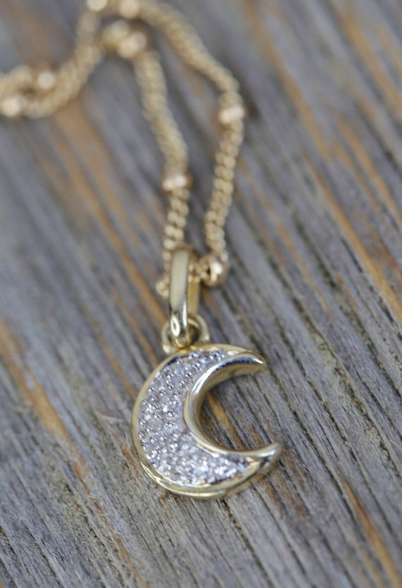 On Sale diamond small crescent moon necklace solid 14karat gold white diamond moon necklace gifts for her womens gift small moon necklace