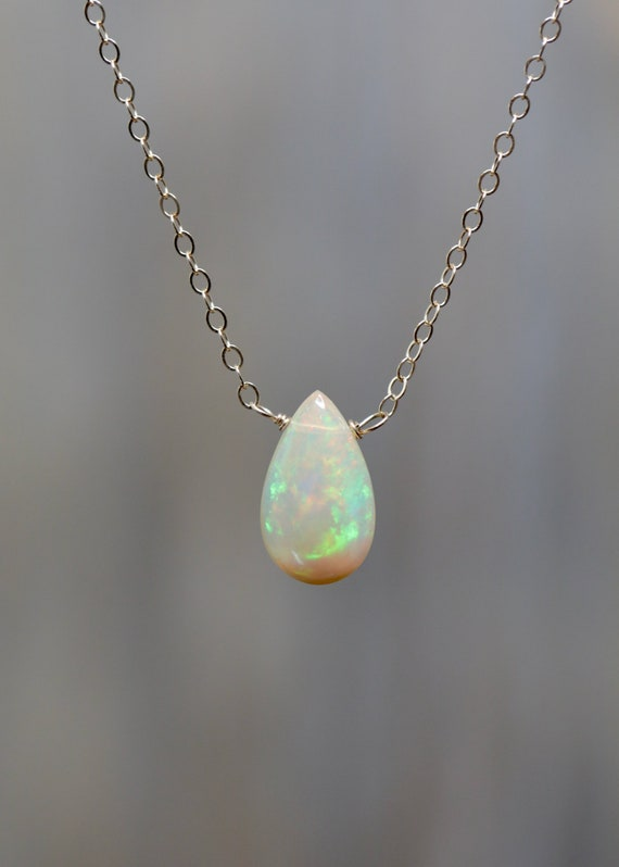 Ethiopian Welo Opal 14k Gold Necklace * Genuine Opal Gemstone - Welo Opal- Mother's Day Gift Idea Women's Jewelry- solid 14k yellow gold