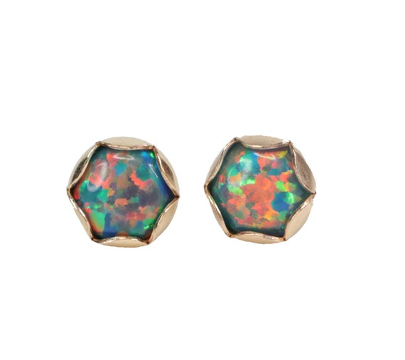 Black Opal Gemstone Stud Earring