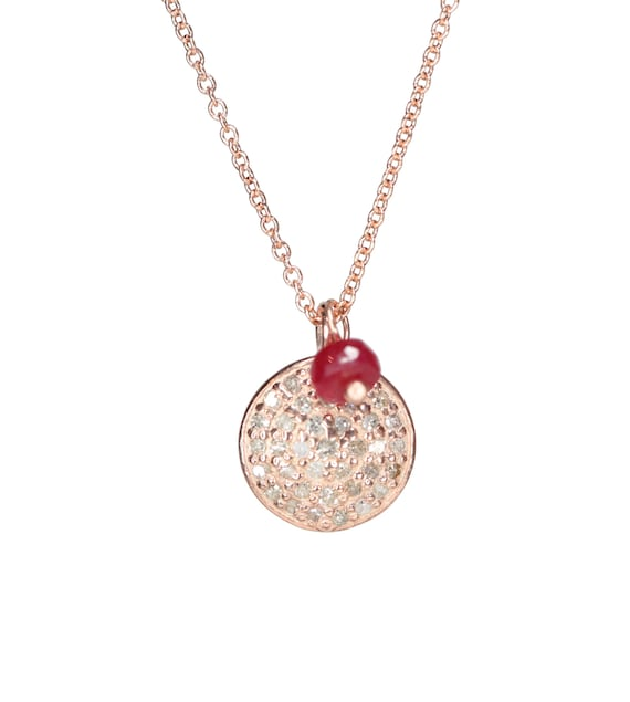 Rose Gold Diamond Disc Necklace Pave diamond pink gold ruby disc necklace Gift for Her Pendant Necklace