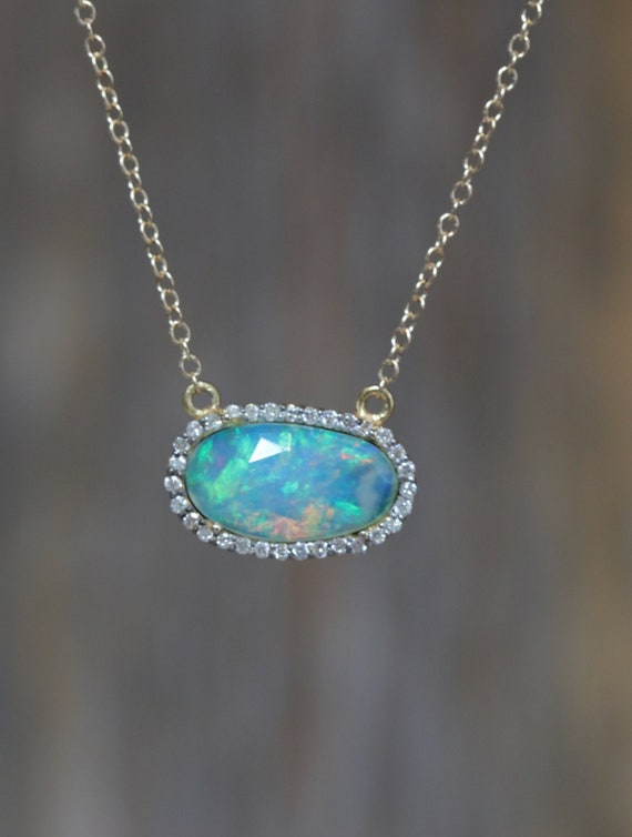 Rose cut Opal Slice Pendant Necklace- 14k gold- double bail- full cut diamonds* October birthstone gift for Her* Mother's Day