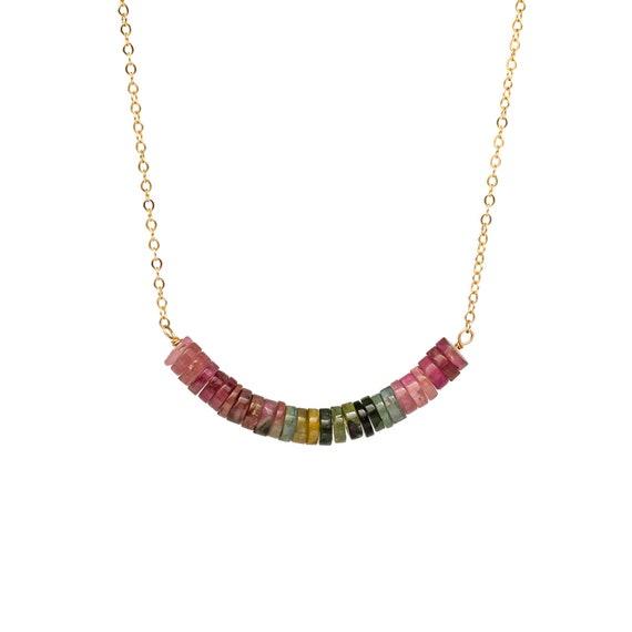 Tourmaline Gemstone Bar Necklace Gold Rainbow - Women's Jewelry Gift Idea - Mother's Day - Graduation - Rainbow Stones- Tourmaline Crystal