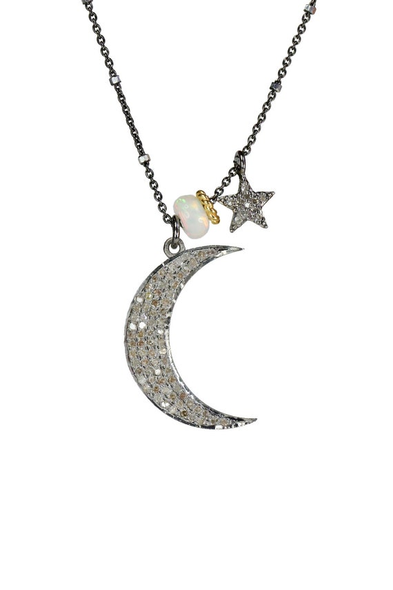 Diamond Moon Star Necklace Opal Gemstone Mixed Metal October birthstone October birthday Gift for Her