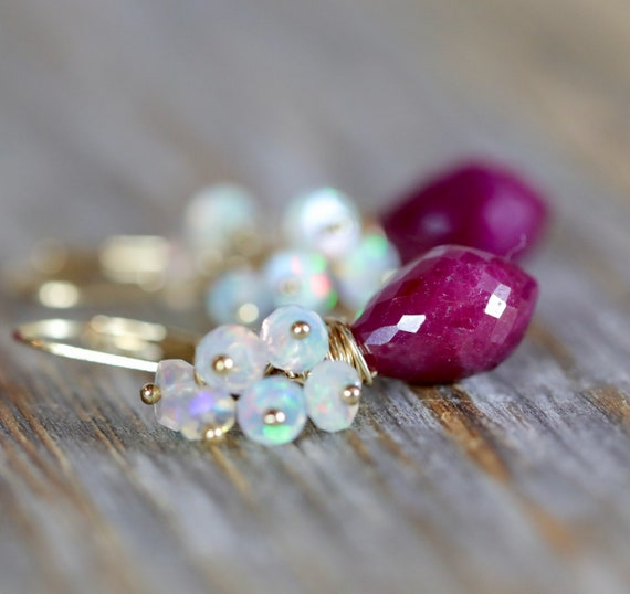 White Opal and Ruby Gemstone Cluster Earrings- July Birthstone Birthday Gift For Her- October Birthstone- 14k Gold Filled
