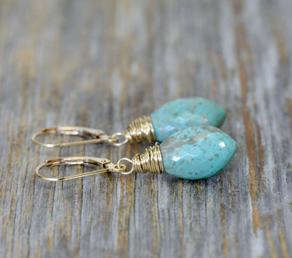 Kingman Turquoise Gemstone Marquise Drop Earring- 14k Gold Filled- Mother's Day Unique Gift - Wedding Gift Idea for Her- Graduation