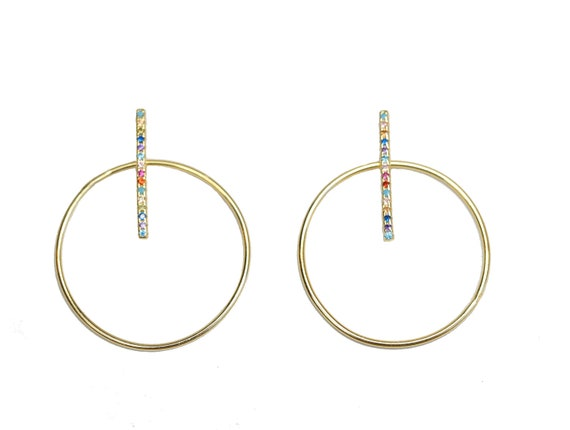 Rainbow Hoop Bar Earrings Gold Vermeil Pave rainbow crystal bar with Front Facing Hoop Earrings- Gift For Her