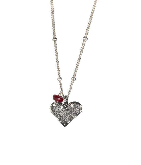Diamond Heart Necklace dainty Ruby Genuine Pave Diamond oxidized sterling silver Valentine's Day Gift for Her
