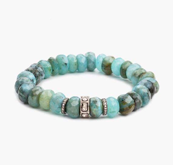 Blue Peruvian Opal Diamond Stretch Bracelet* Genuine polki pave diamonds oxidized sterling silver Women's Gift diamond bracelet beaded