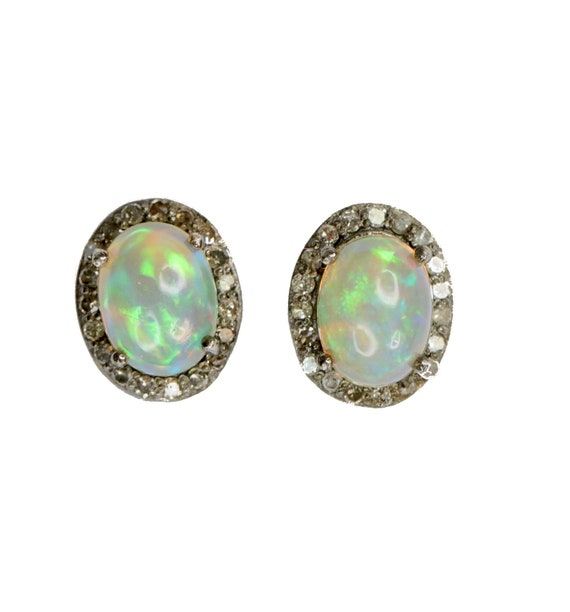Opal Diamond Studs-Diamond Pave Opal Studs-Boho Chic Opal Studs-October Birthstone Gift-Semi Black Opal Studs