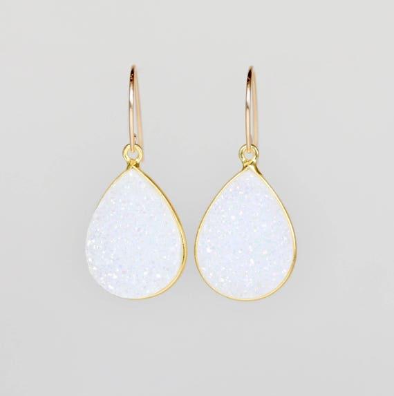 Large White Druzy Teardrop Earrings - Genuine Druzy Gemstones- 14k Gold Filled- Gift Idea for Her Women's Jewelry Wedding Bridal Earrings