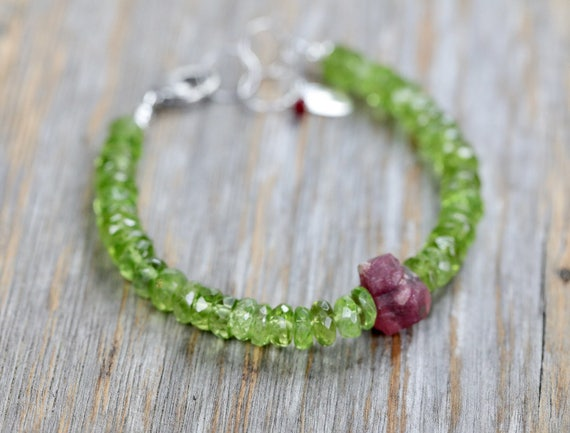 Peridot Ruby bracelet  raw ruby gemstone bracelet sterling silver August birthstone peridot gemstone August birthday gift for her lime green