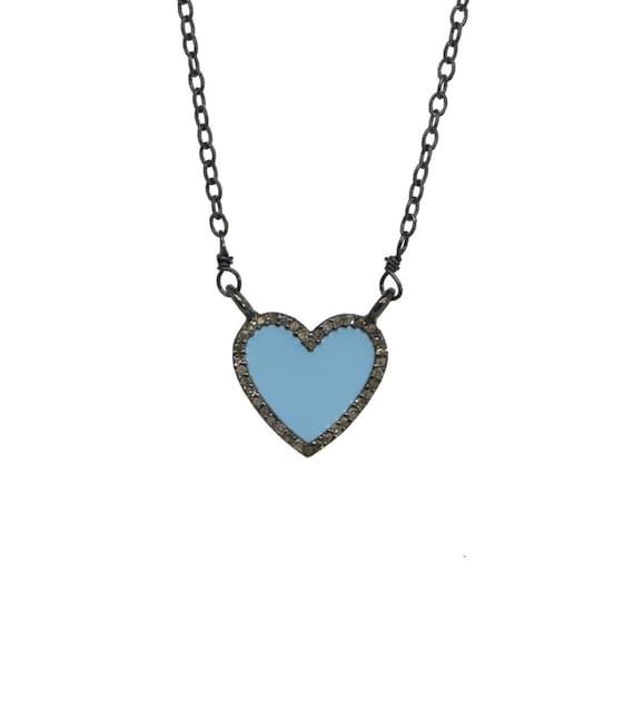 Sky Blue Pave Diamond Halo Heart Pendant Necklace