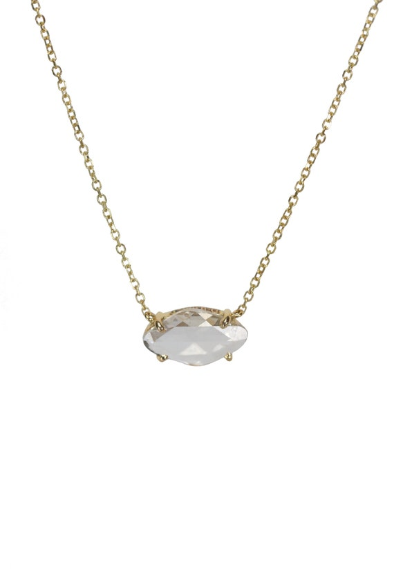 14k Gold Rose Cut Diamond Solitaire Necklace *April Birthstone* natural raw diamond slice necklace