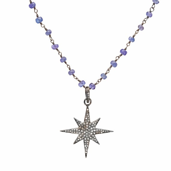 Diamond Star Pendant Necklace Tanzanite Gemstone- Gift for Her