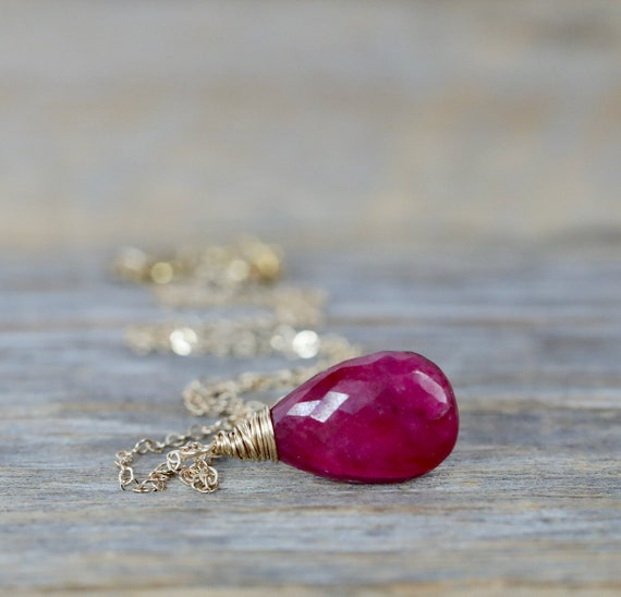 Genuine Ruby Gemstone Pendant Necklace - July Birthstone Birthday- Women's Jewelry Gift Idea