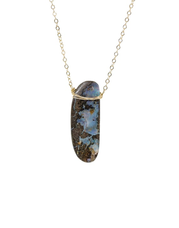 Blue Australian Boulder Opal Pendant Necklace- 14k gold filled October Birthstone Birthday Women's Jewelry gift Idea