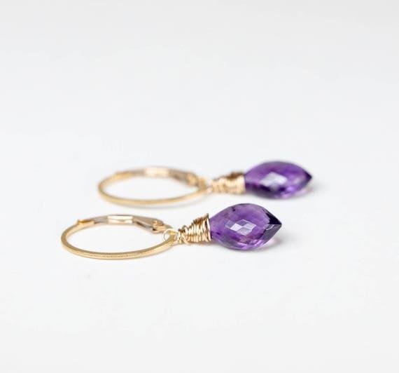 amethyst earrings amethyst drop earring February birthstone earring amethyst gemstone earring gold arrow drop earring February birthday
