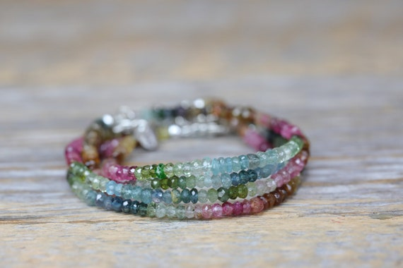 TOURMALINE Gemstone Bracelet Ombre Shaded beaded bracelet October birthstone October birthday gift for her women genuine tourmaline bracelet