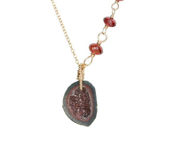 Rich Red Brown Druzy Geode Pendant Necklace