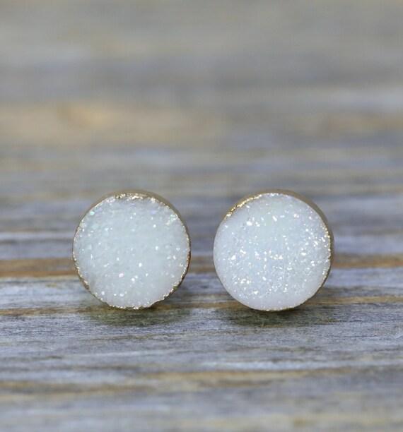 White White Druzy Stud Earring Genuine Druzy Quartz Gemstone Post Earring- Natural Druzy Quartz- 8mm Women's Jewelry Gift