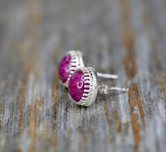 Ruby Gemstone Stud Earring Sterling Silver July Birthstone Ruby stud Earring Gift for Her 8mm elegant stud earring July birthday