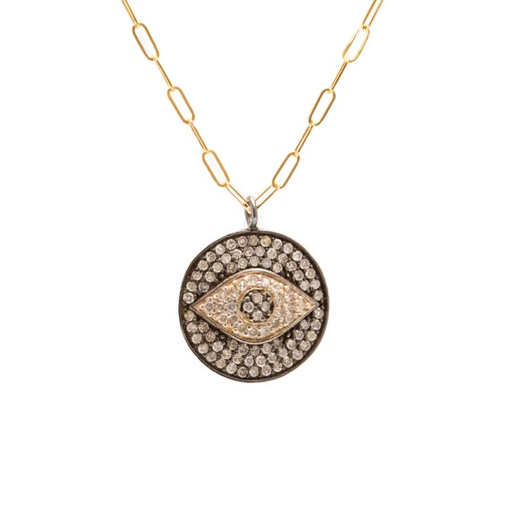 Diamond eye Medallion Necklace Oxidized Sterling Silver- 14k Gold Filled- Protection Pendant- Holiday Gift Idea- Women's Jewelry
