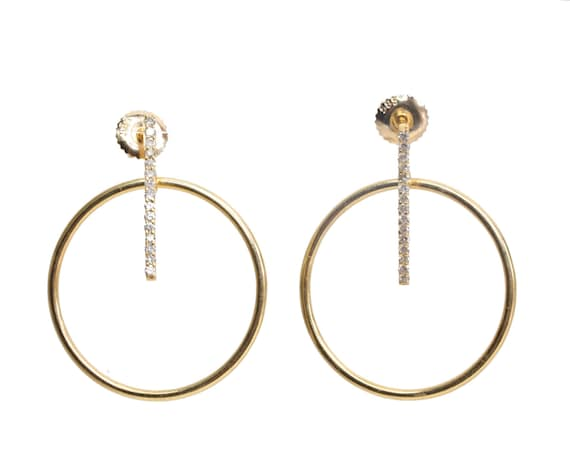 14k gold diamond bar hoop earring* Genuine pave white diamonds* 14k yellow gold* gift for her- genuine brilliant cut white diamonds