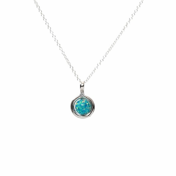 Marine Blue Opal- Round Circle Pendant Necklace-925 Sterling Silver- Women's Jewelry- Graduation- Mother's Day Gift Idea