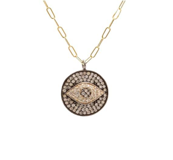 Diamond Evil Eye Medallion Necklace Oxidized Sterling Silver*Protection Talisman*Protection Necklace*Diamond Eye Necklace*Gift Idea for Her