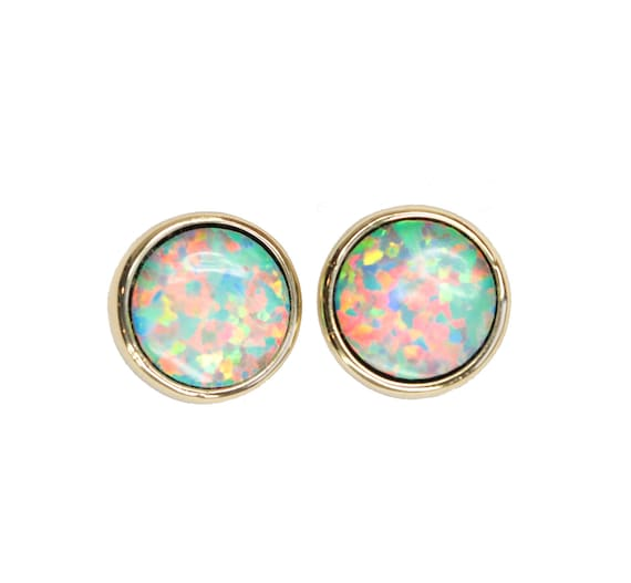 Opal Stud earring Mother's Day Round Stud Earring Gold 6mm Gift For Her green pink synthetic opal