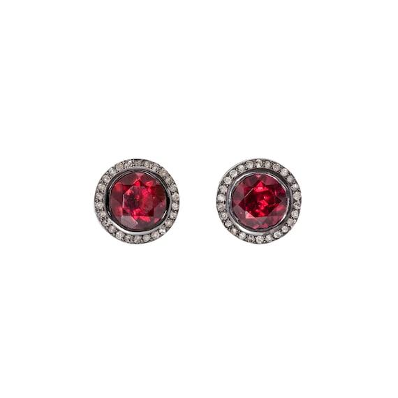 Garnet Diamond Halo Statement Stud Earrings