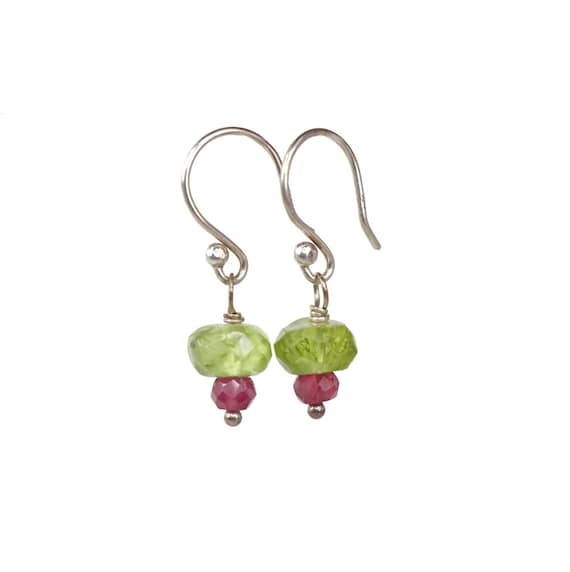 Peridot Gemstone Ruby Earrings Sterling Silver- simple beaded earring August birthstone- Gift for Her - lime green stone-