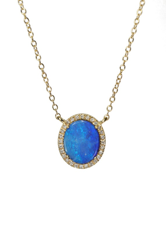 Australian Blue Opal Pendant Necklace- Prong Set Genuine White Diamonds- 14k Gold- Women's Jewelry- Mother's Day Gift Idea