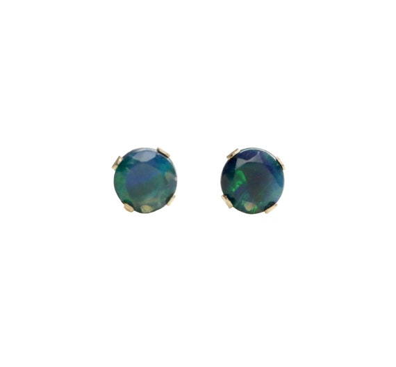 Black opal stud earring 14k gold prong stud Real Ethiopian black Opal earring 4mm October birthstone opal 14 karat gold stud gift for her