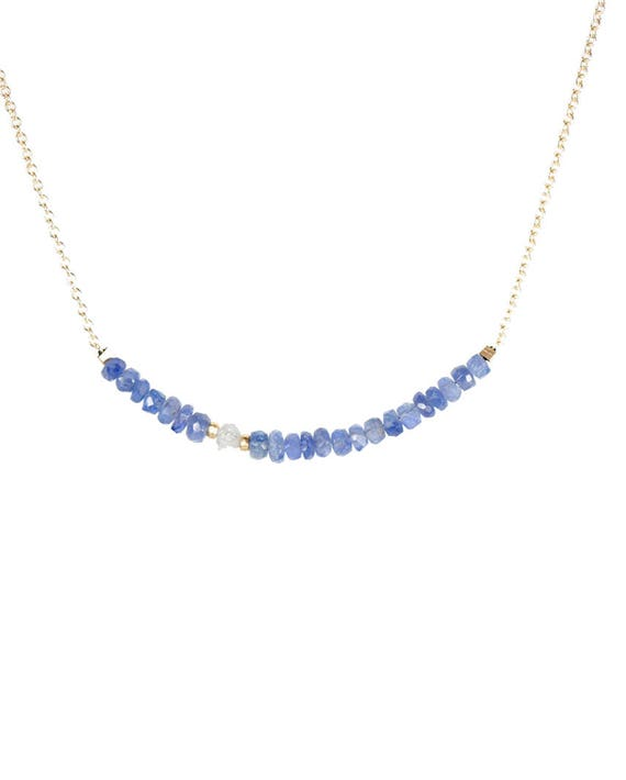 Raw Diamond and Blue Sapphire Necklace