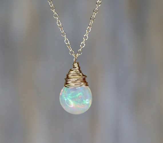 Natural Opal Gemstone Necklace 3.5 carat Opal Pear shaped drop Pendant Necklace 14K Gold October birthstone Gift for Her October birthday