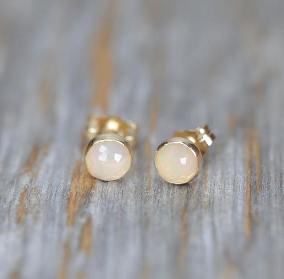 Opal stud Earring 5mm October birthday gift for her Genuine FACETED ROSE CUT white opal earring natural Welo Opal Bezel Set 14k gold filled