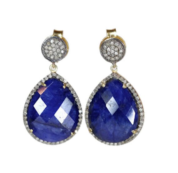 Blue Sapphire and Genuine Pave Diamond Teardrop Earring
