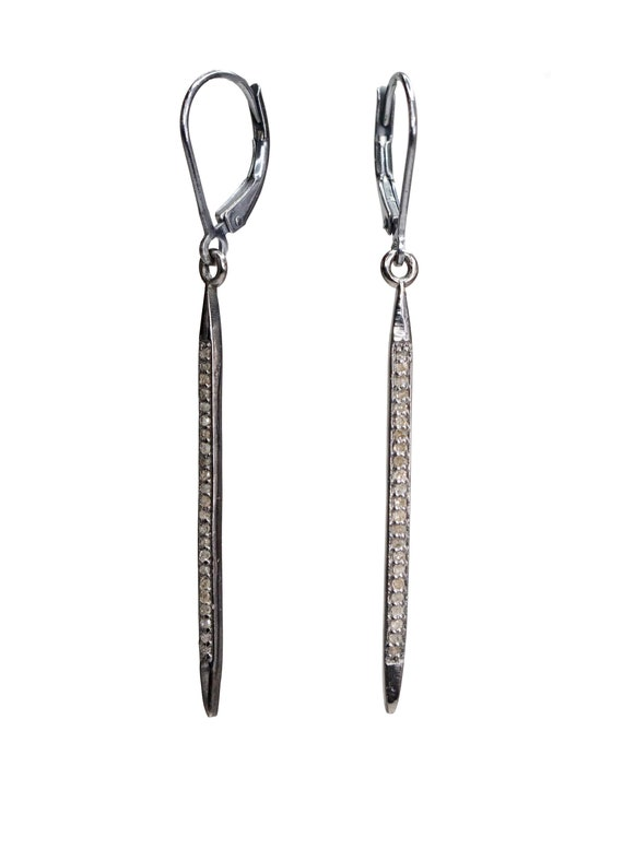 "Genuine Diamond Spike Lever Back Earring Champagne Diamond Sterling Silver- 2.2"" length"