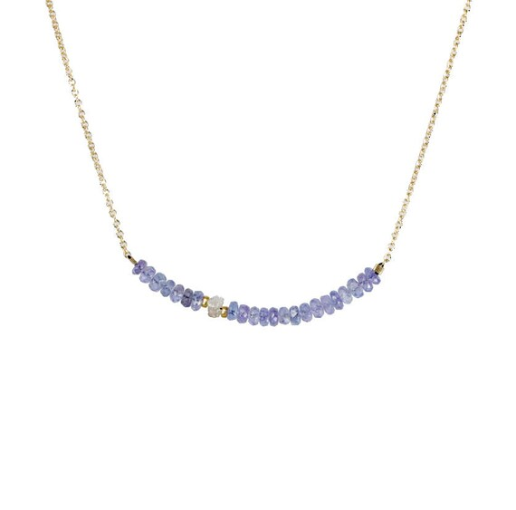 Tanzanite Bar Necklace with rough raw white diamond