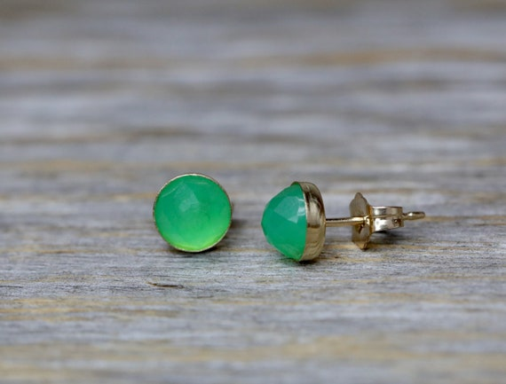 Rose Cut Chrysoprase Gemstone Stud Earring* bezel set in 14k gold filled* lime green Gift for Her dainty small gemstone stud