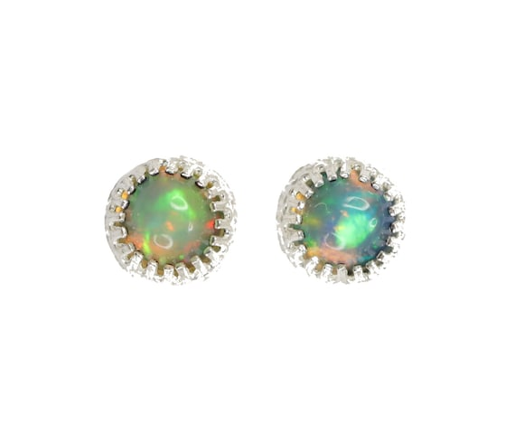 Opal Stud Earring* Smooth 6mm opal stud *Sterling Silver Bezel* October birthstone gift for her* Ethiopian Welo opal gemstone stud