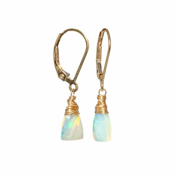 Opal Triangle Drop Earring